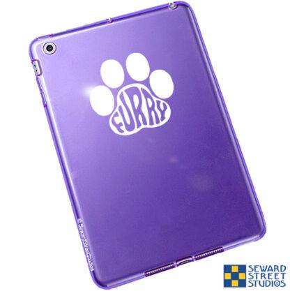 Seward Street Studios Furry Paw Print Vinyl Decal. Shown on a purple tablet.