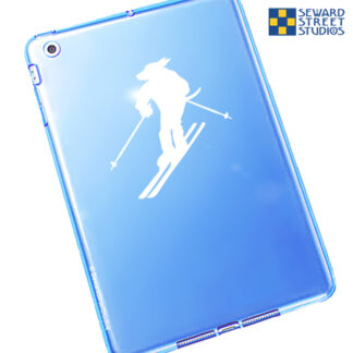 Seward Street Studios Downhill Ski Mascot Fursuit Vinyl Decal. Shown on a blue tablet.