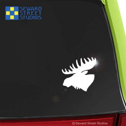Seward Street Studios Moose Vinyl Decal. Shown on a green car