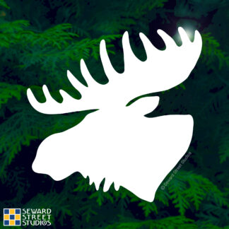 Seward Street Studios Moose Vinyl Decal. Shown on a forest background