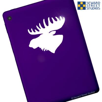 Seward Street Studios Moose Vinyl Decal. Shown on a purple tablet