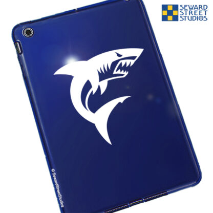 Seward Street Studios Shark Vinyl Decal. Shown on a blue tablet.