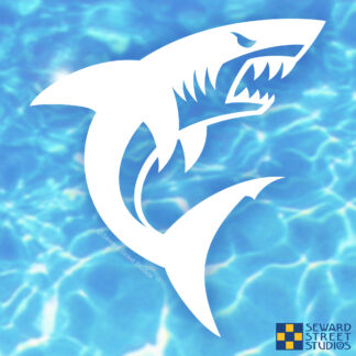 Seward Street Studios Shark Vinyl Decal. Shown on a water background
