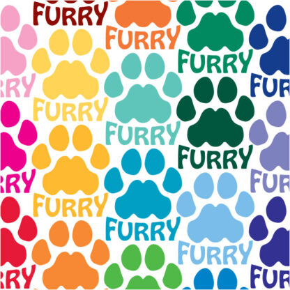 Seward Street Studios Furry Paw Print Vinyl Decal. Shown in several different colors.