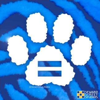 Seward Street Studios Equality Paw Print Vinyl Decal. Shown on a Blue fur background