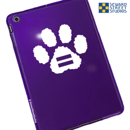 Seward Street Studios Equality Paw Print Vinyl Decal. Shown on a purple tablet