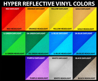 11 3M Retro Reflective Safety Vinyl Color Options