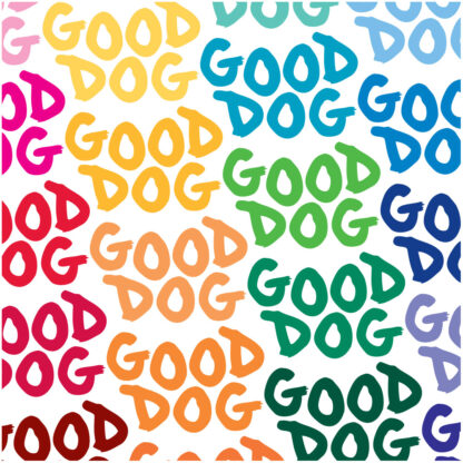 Seward Street Studios Good Dog Vinyl Decal. Shown in several different colors.