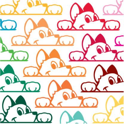 Seward Street Studios Peekaboo Dog Vinyl Decal. Shown in several colors