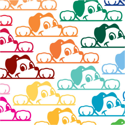 Seward Street Studios Peekaboo Dog Vinyl Decal. Shown in several colors
