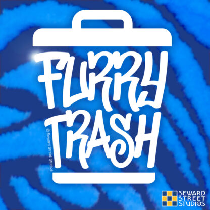 Seward Street Studios Furry Trash Vinyl Decal. Shown on a Blue fur background