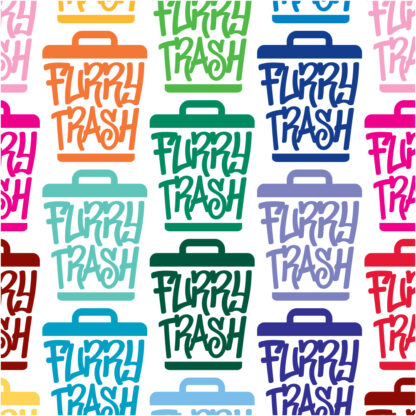 Seward Street Studios Furry Trash Vinyl Decal. Shown in several colors