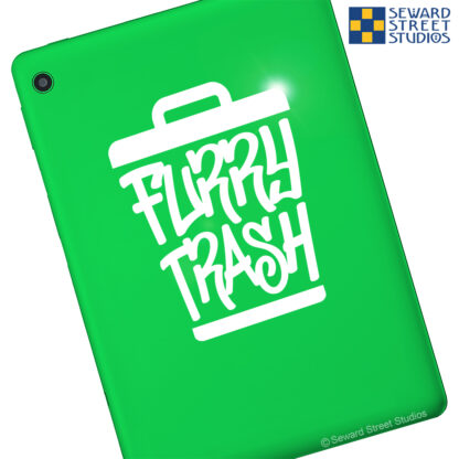 Seward Street Studios Furry Trash Vinyl Decal. Shown on a green tablet