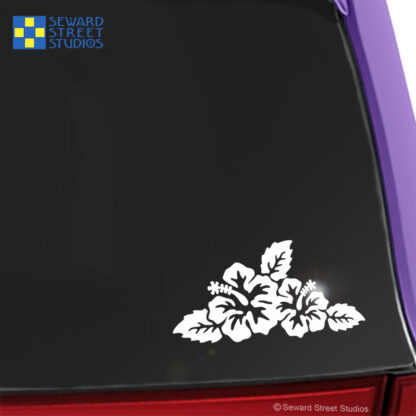 Seward Street Studios Hibiscus Vinyl Decal. Shown on a pink car