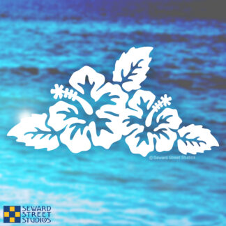 Seward Street Studios Hibiscus Vinyl Decal. Shown on a beach background