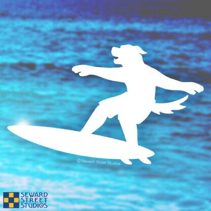 Seward Street Studios Surfboard Mascot Dog Decal. Shown on an ocean background