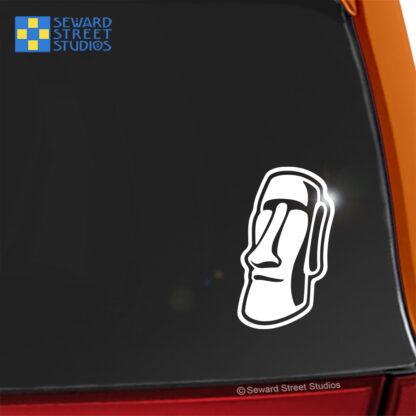 Seward Street Studios Easter Island Moai Vinyl Decal. Shown on a red car