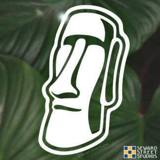 1215 Seward Street Studios Easter Island Moai Vinyl Decal. Shown on a leaves background