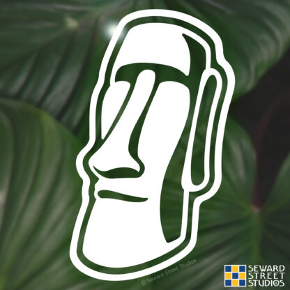 Seward Street Studios Easter Island Moai Vinyl Decal. Shown on a leaves background