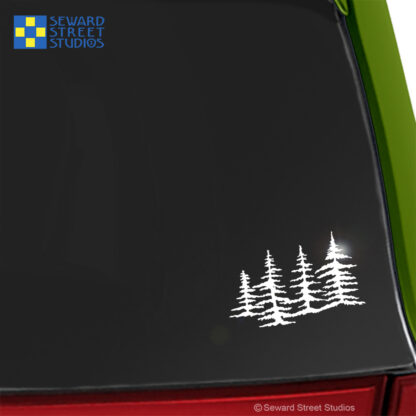 Seward Street Studios Trees Vinyl Decal. Shown on a green car