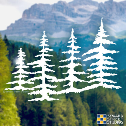 Seward Street Studios Trees Vinyl Decal. Shown on a mountain background