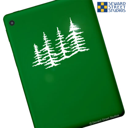 Seward Street Studios Trees Vinyl Decal. Shown on a green tablet