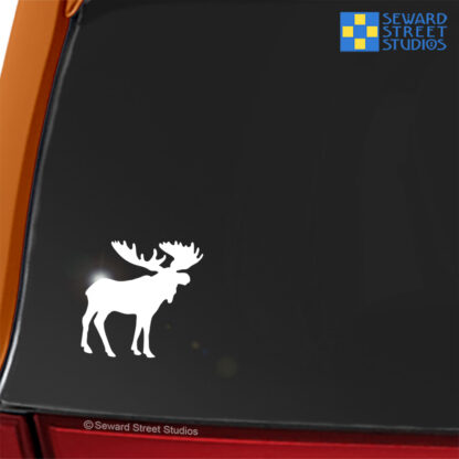 Seward Street Studios Moose Vinyl Decal. Shown on a red car