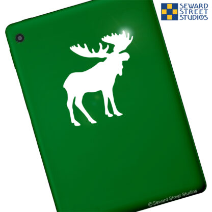 Seward Street Studios Moose Vinyl Decal. Shown on a green tablet