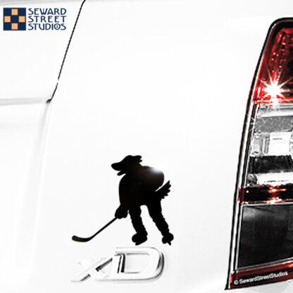 Seward Street Studios Hockey Mascot Dog Decal. Shown on a white car