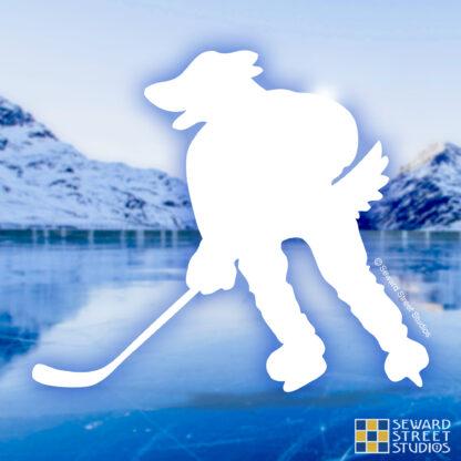 Seward Street Studios Hockey Mascot Dog Decal. Shown on an ice background