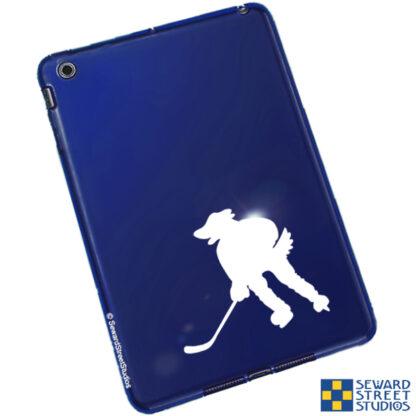 Seward Street Studios Hockey Mascot Dog Decal. Shown on a blue tablet