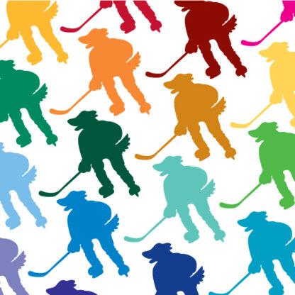 Seward Street Studios Hockey Mascot Dog Decal. Shown in several colors