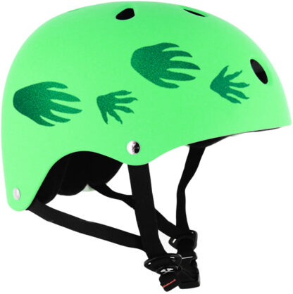 Green Hyper Reflective Dinosaur Tracks Decal set by Seward Street Studios shown on a green helmet.