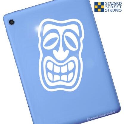Seward Street Studios Tiki Head Vinyl Decal. Shown on a blue tablet