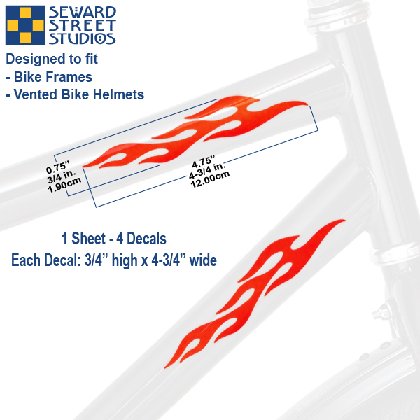Flames Set ● Bicycle Stickers ● desired Colour Waterproof Sticker Bike Decal