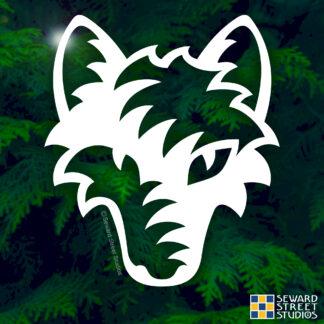 100 Seward Street Studios Tribal Wolf Head shown on a forest background