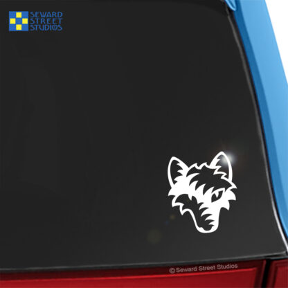 100 Seward Street Studios Tribal Wolf Head shown on a blue car