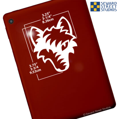 100 Seward Street Studios Tribal Wolf Head shown on a red tablet with dimensions