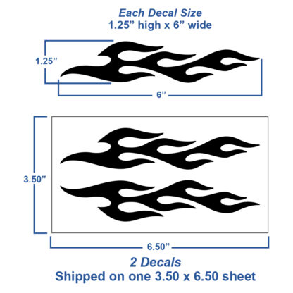 1223 2pc flame decal set shown with dimensions