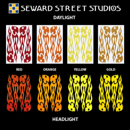 1137 Reflective Flame Skulls Decal Set by Seward Street Studios, shown in red, orange, yellow, and gold