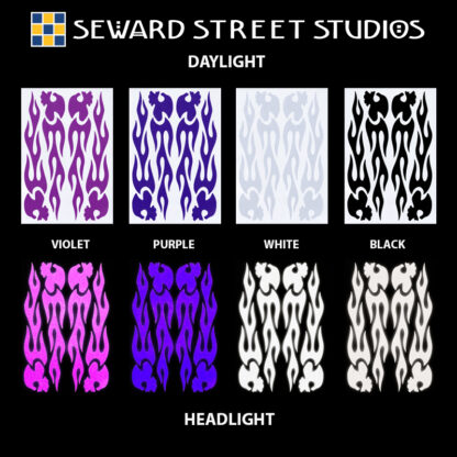 1137 Reflective Flame Skulls Decal Set by Seward Street Studios, shown in violet, purple, white, and black