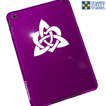 1157 White Heart Triquetra Vinyl Decal by Seward Street Studios. Shown on a red tablet