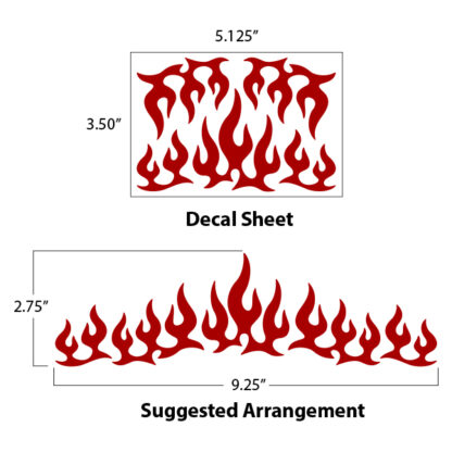 1207 Hyper Reflective Flames Decal Set by Seward Street Studios shown as shipped and in a suggested arrangement.