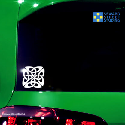 410 Square Celtic Knot Vinyl Decal by Seward Street Studios. Shown on a green car