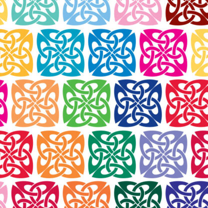 410 Square Celtic Knot Vinyl Decal by Seward Street Studios. Shown in various colors