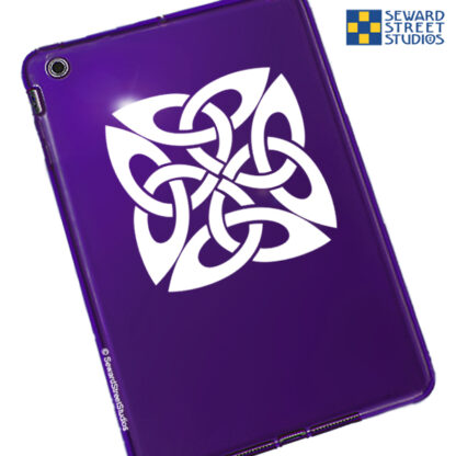 410 Square Celtic Knot Vinyl Decal by Seward Street Studios. Shown on a red tablet