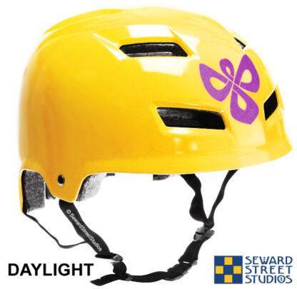 504 Seward Street Studios celtic knotwork angel reflective decal shown on a yellow helmet