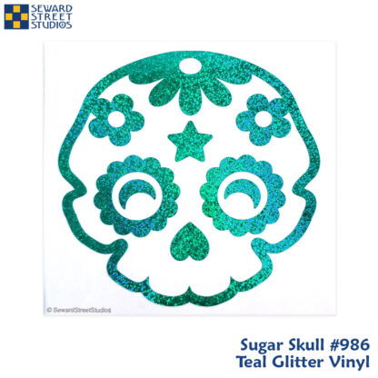 986 Seward Street Studios sugar skull decal shown in teal glitter vinyl