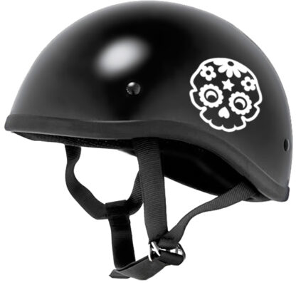986 Seward Street Studios sugar skull decal shown on a black helmet