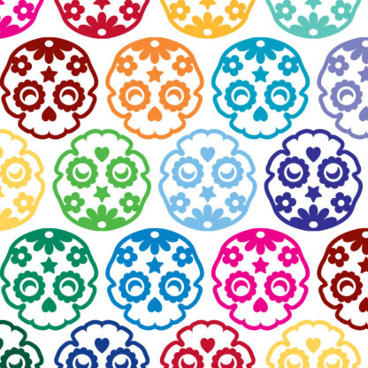 986 Seward Street Studios sugar skull decal shown in several colors